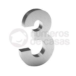 """Número """"3"""" de Inox Escovado 304 18x2cm"""