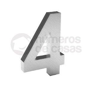 """Número """"4"""" de Inox Escovado 304 18x2cm"""