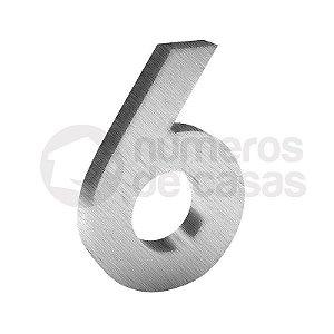 """Número """"6"""" de Inox Escovado 304 18x2cm"""