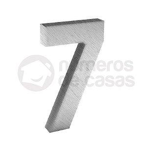 """Número """"7"""" de Inox Escovado 304 18x2cm"""