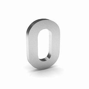 """Número """"0"""" de Inox Escovado 12x2cm"""