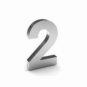 """Número """"2"""" de Inox Escovado 12x2cm"""