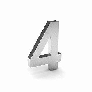 """Número """"4"""" de Inox Escovado 12x2cm"""