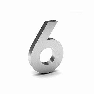 """Número """"6"""" de Inox Escovado 12x2cm"""