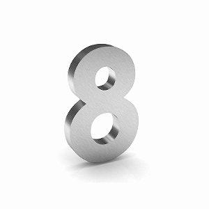 """Número """"8"""" de Inox Escovado 12x2cm"""