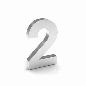 """Número """"2"""" de Inox Polido 12x2cm"""