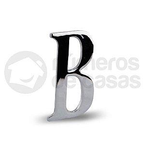 "Letra ""B"" Cromado Liso 12,5cm"
