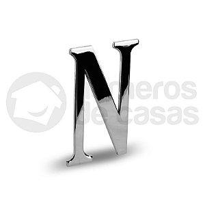 """Letra """"N"""" Cromado Liso 12,5cm"""