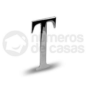 "Letra ""T"" Cromado Liso 12,5cm"