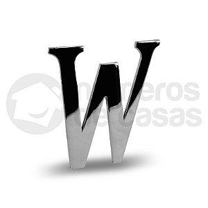 "Letra ""W"" Cromado Liso 12,5cm"