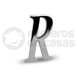 """Letra """"R"""" Cromado Liso 12,5cm"""