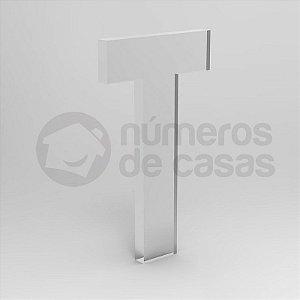 """Letra """"T"""" de Acrílico Cristal 20cm"""