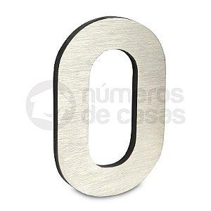 """Número """"0"""" de Aluminio Moderno Escovado 18x1cm"""