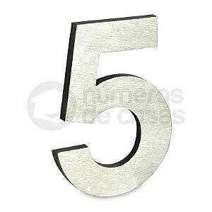 """Número """"5"""" de Aluminio Moderno Escovado 18x1cm"""
