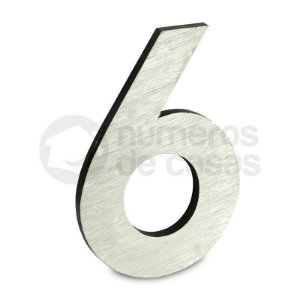 """Número """"6"""" de Aluminio Moderno Escovado 18x1cm"""