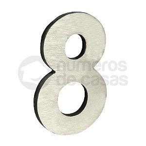 """Número """"8"""" de Aluminio Moderno Escovado 18x1cm"""