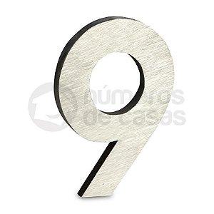 """Número """"9"""" de Aluminio Moderno Escovado 18x1,2cm"""