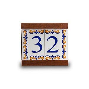 Kit Placa de Madeira com 2 Números de Cerâmica e Bordas