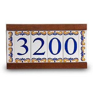 Kit Placa de Madeira com 4 Números de Cerâmica e Bordas