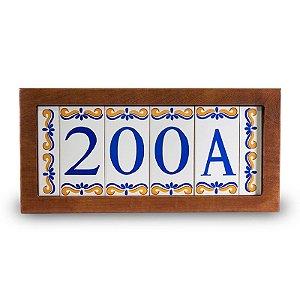 Kit Placa de Madeira com 4 Números de Cerâmica e Bordas Modelo 2