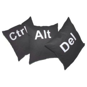 Almofadas CTRL ALT DEL Geek - kit 3 pcs - cinza chumbo