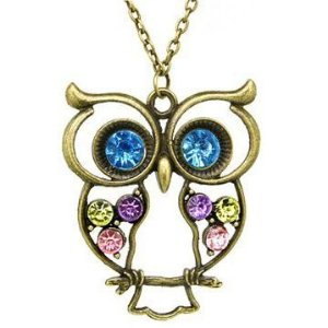 Colar Percy Jackson Athenas - coruja com pedras coloridas