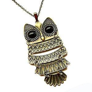 Colar Percy Jackson Athenas - coruja grande com olhos pretos