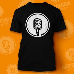 Camiseta Rádiofobia - Preta Minimalista Monocromática