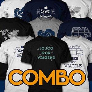 COMBO com TODAS as Camisetas Louco por Viagens