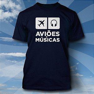 Camiseta Aviões & Músicas - Azul