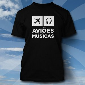 Camiseta Aviões & Músicas - Preta