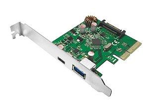 PLACA PCI EXPRESS 2.0 X4 USB 3.1 10Gbps COM CONECTORES USB A FÊMEA E USB-C FÊMEA