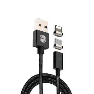 CABO USB MAGNÉTICO X LIGHTNING IPHONE + MICRO USB ANDROID 1,20 METROS PRETO