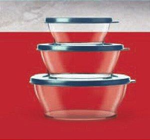 Tupperware Tigelas Clear 3 peças Transparente