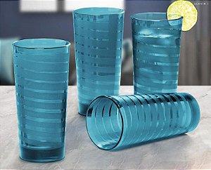 Tupperware Copo Íris 530ml Azul Turmalina Kit 4 peças