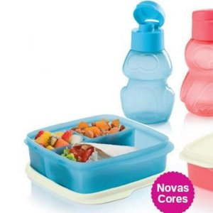 Tupperware Basic Line com Divisórias 550ml + Eco Kids Garrafa Sapo 350ml Azul