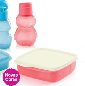 Tupperware Basic Line com Divisórias Guava 550ml + Eco Kids Garrafa Pinguim 350ml Guava