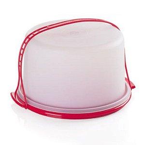Tupperware Big Cake Redondo Branco com Base Vermelha Porta Bolo