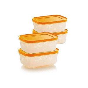 Tupperware Freezer Line 450ml Papaya kit 4 peças