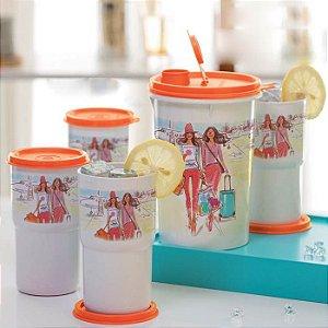 Tupperware Guarda Suco + Copo Colors Izak kit 5 peças
