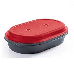 Tupperware Travessa Oval Actualité 2 litros Vermelho e Preto