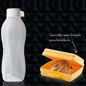 Tupperware Eco Tupper Branca + Porta Sanduiche Amarelo 500ml kit 2 peças