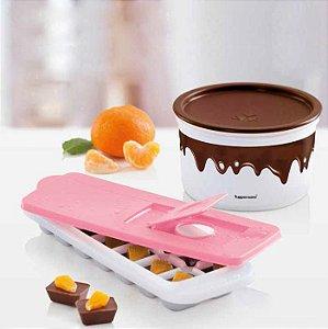 Tupperware Forma de Gelo Rosa Quartzo + Pote Master Chocolate 1,5 Litros kit 2 Peças