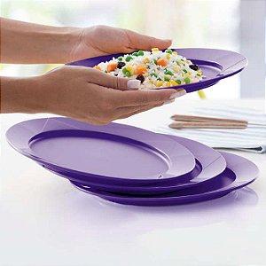 Tupperware Prato Outdoor Púrpura 24,7cm kit 4 peças