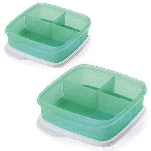 Tupperware Basic Line Com Divisórias Mint 550ml kit 2 peças