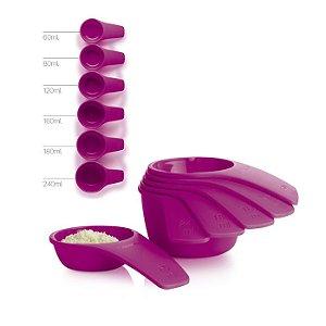 Tupperware Xícaras Medidoras Geração II kit 6 peças Roxa
