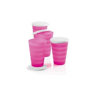 Tupperware Copo Murano 500ml kit 4 Peças Rosa Neon