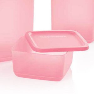 Tupperware Refri Line Quadrado Rosa Quartzo 650ml