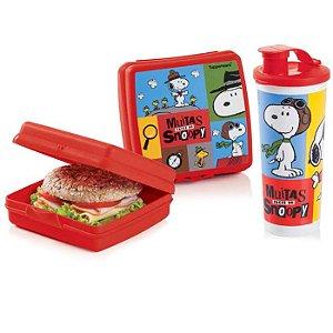 Tupperware Porta Sanduíche + Copo com Bico Snoopy kit 2 peças Vermelho