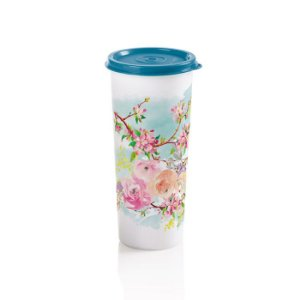 Tupperware Copo Primavera 470ml Branco decorado com tampa azul